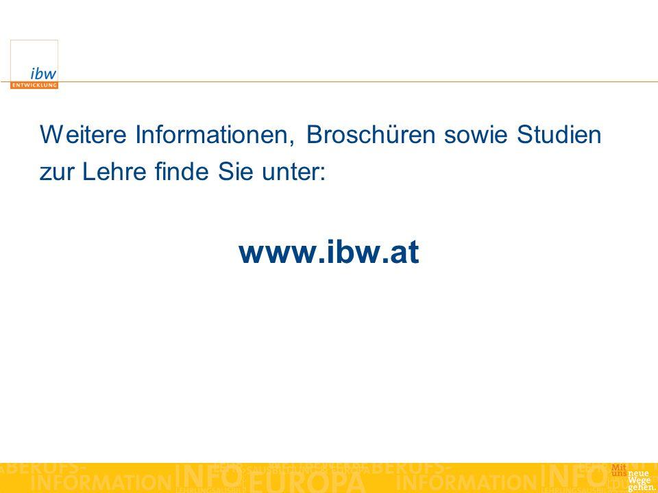 Weitere Informationen, Broschüren sowie Studien zur Lehre finde Sie unter: www.ibw.at