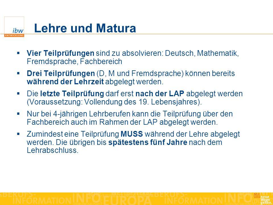 Lehre und Matura Vier Teilprüfungen sind zu absolvieren: Deutsch, Mathematik, Fremdsprache, Fachbereich Drei Teilprüfungen (D, M und Fremdsprache) kön