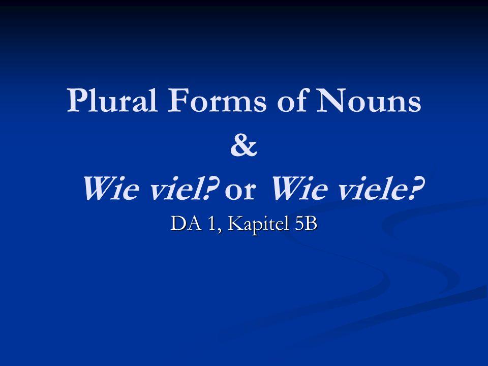 Plural Forms of Nouns & Wie viel? or Wie viele? DA 1, Kapitel 5B