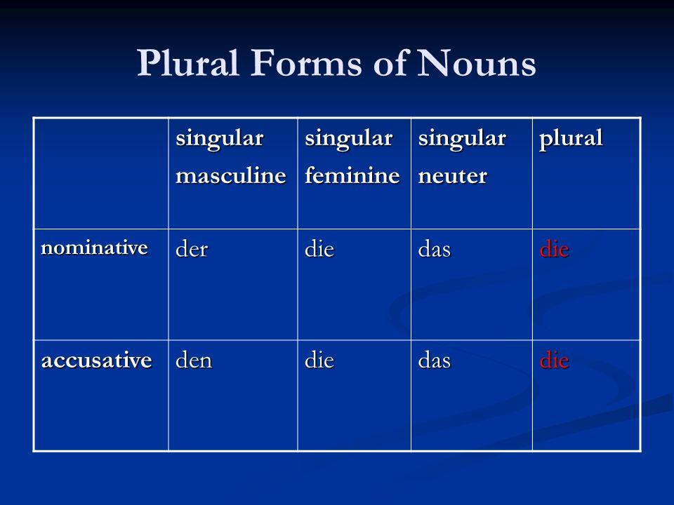 Plural Forms of Nouns singularmasculinesingularfemininesingularneuterplural nominativederdiedasdie accusativedendiedasdie