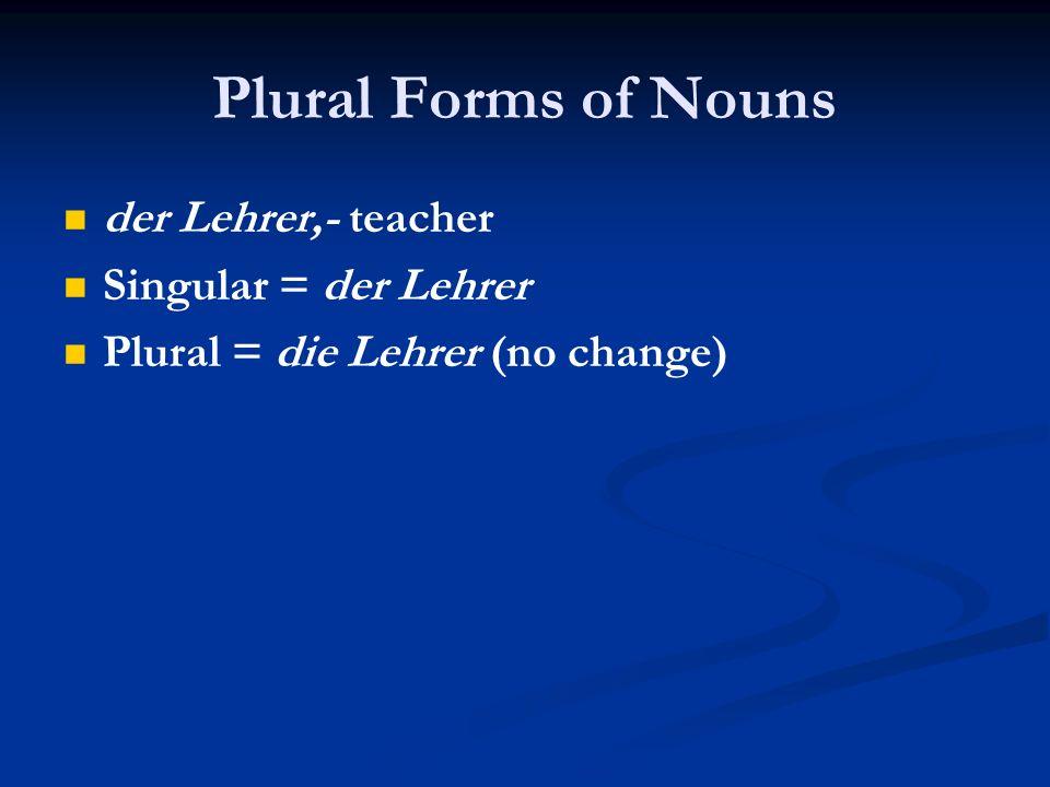 Plural Forms of Nouns der Lehrer,- teacher Singular = der Lehrer Plural = die Lehrer (no change)