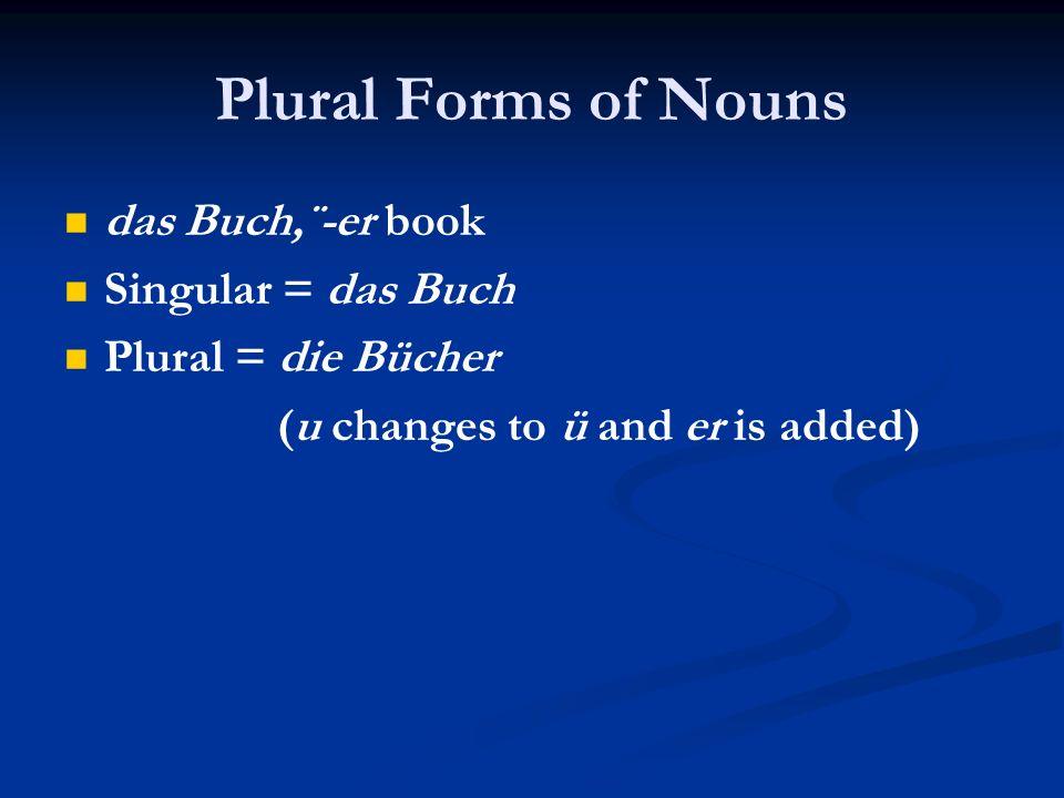 Plural Forms of Nouns das Buch,¨-er book Singular = das Buch Plural = die Bücher (u changes to ü and er is added)