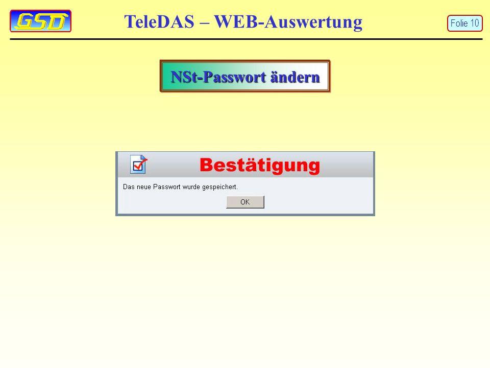 TeleDAS – WEB-Auswertung NSt-Passwort ändern Folie 10