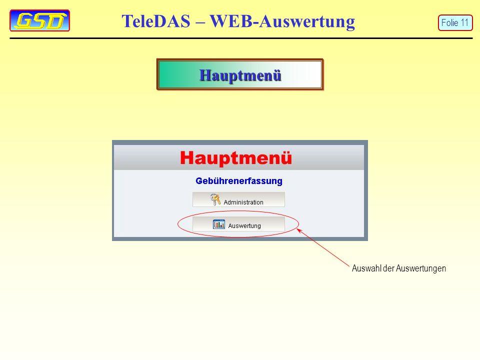 TeleDAS – WEB-Auswertung Hauptmenü Auswahl der Auswertungen Folie 11