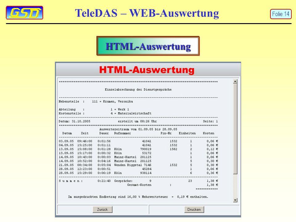 TeleDAS – WEB-Auswertung HTML-Auswertung Folie 14