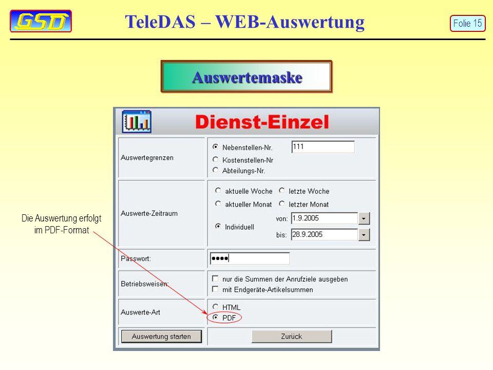 TeleDAS – WEB-Auswertung Auswertemaske Die Auswertung erfolgt im PDF-Format Folie 15
