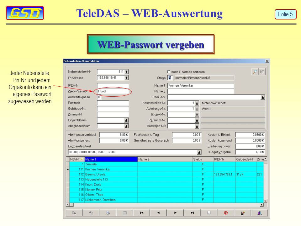 TeleDAS – WEB-Auswertung PDF-Auswertung Folie 16