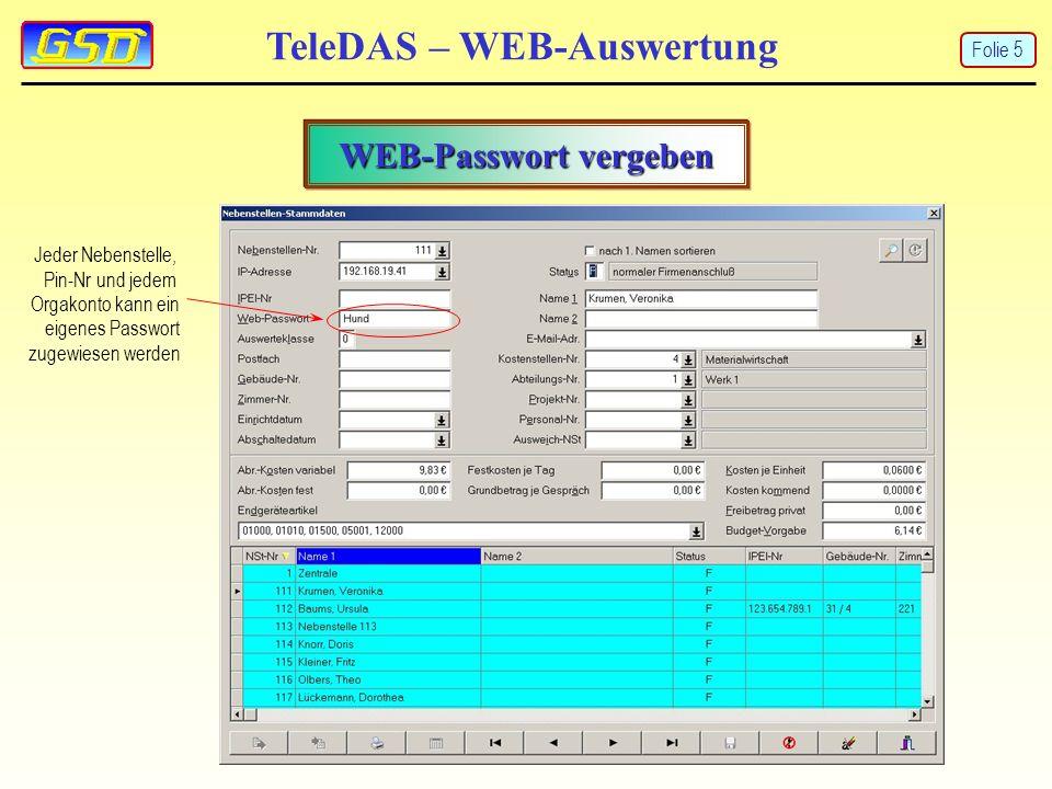 TeleDAS – WEB-Auswertung WEB-Passwort vergeben Jeder Nebenstelle, Pin-Nr und jedem Orgakonto kann ein eigenes Passwort zugewiesen werden Folie 5