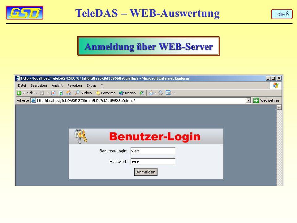 TeleDAS – WEB-Auswertung Anmeldung über WEB-Server Folie 6