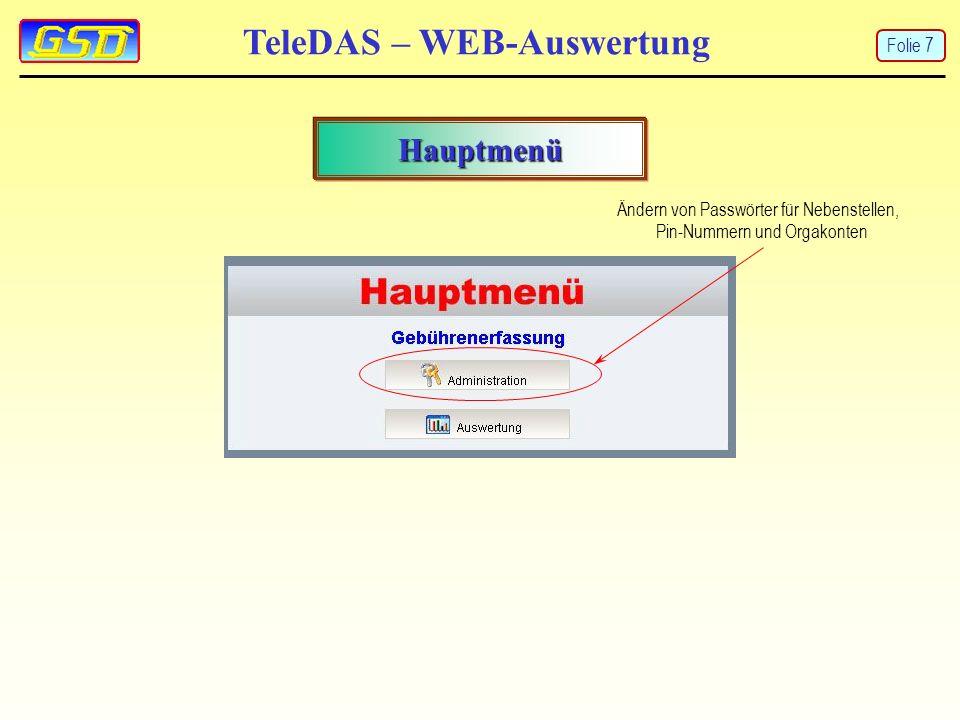 TeleDAS – WEB-Auswertung Hauptmenü Ändern von Passwörter für Nebenstellen, Pin-Nummern und Orgakonten Folie 7