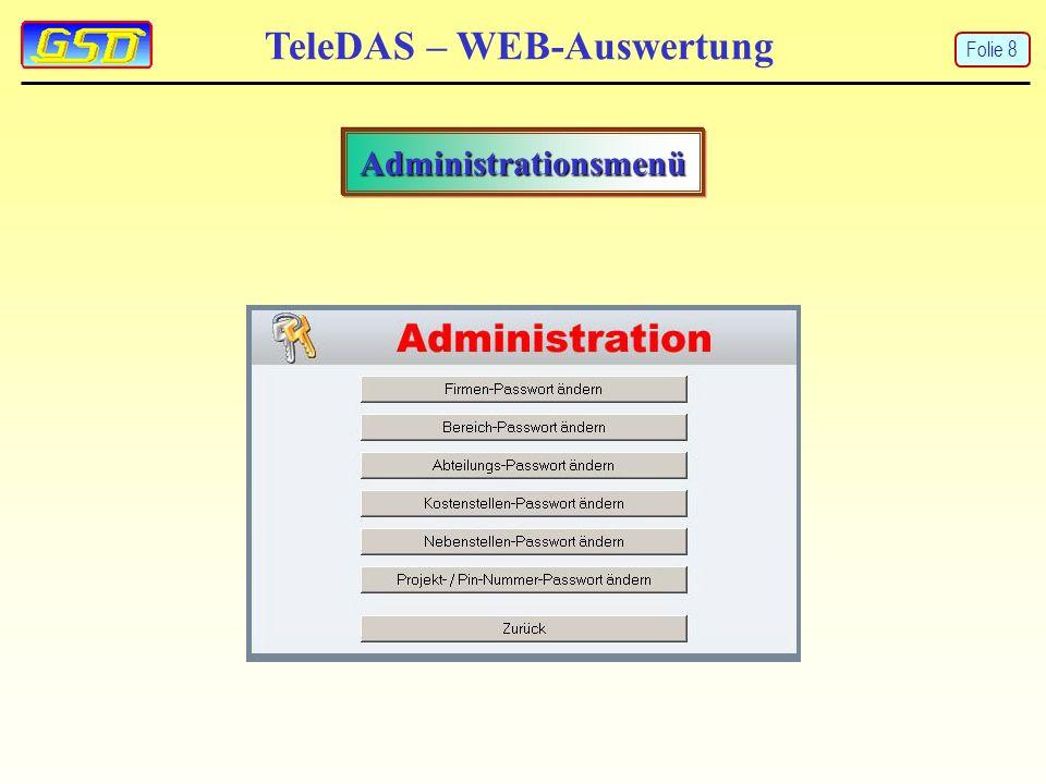 TeleDAS – WEB-Auswertung Administrationsmenü Folie 8