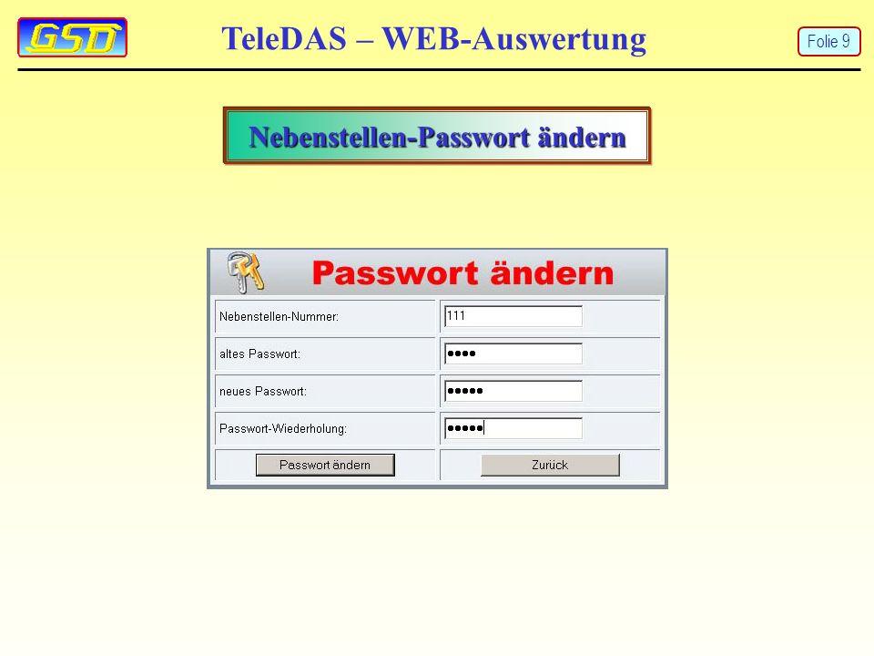 TeleDAS – WEB-Auswertung Nebenstellen-Passwort ändern Folie 9