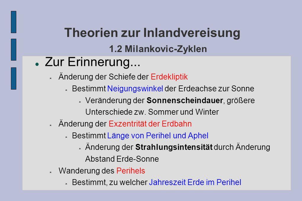 Theorien zur Inlandvereisung 1.2 Milankovic-Zyklen Zur Erinnerung... Änderung der Schiefe der Erdekliptik Bestimmt Neigungswinkel der Erdeachse zur So