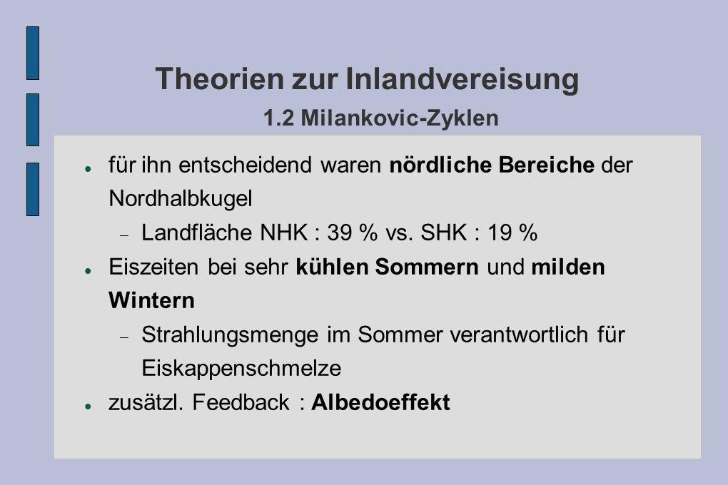 Theorien zur Inlandvereisung 1.2 Milankovic-Zyklen für ihn entscheidend waren nördliche Bereiche der Nordhalbkugel Landfläche NHK : 39 % vs. SHK : 19