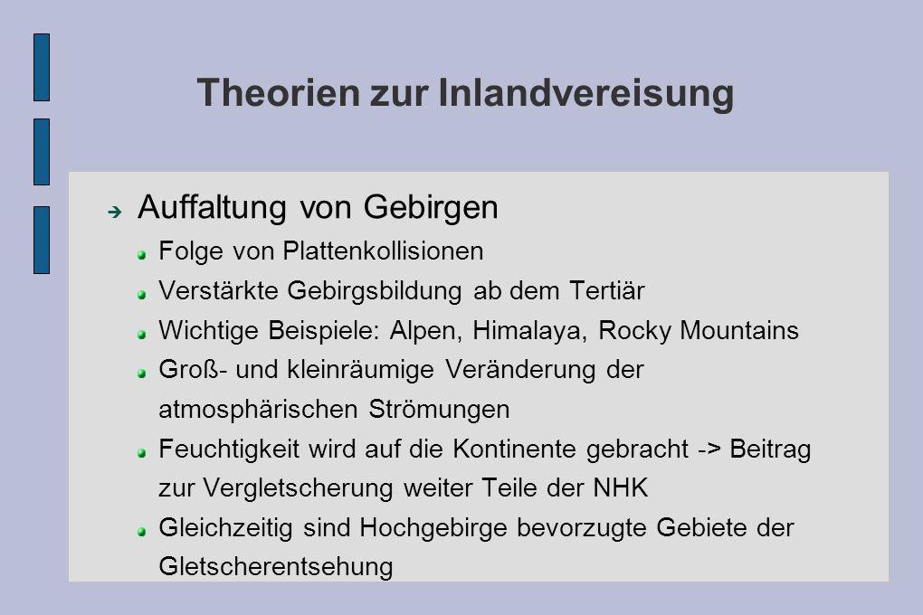 Theorien zur Inlandvereisung Auffaltung von Gebirgen Folge von Plattenkollisionen Verstärkte Gebirgsbildung ab dem Tertiär Wichtige Beispiele: Alpen,