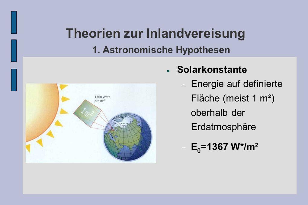 Theorien zur Inlandvereisung 1. Astronomische Hypothesen Solarkonstante Energie auf definierte Fläche (meist 1 m²) oberhalb der Erdatmosphäre E 0 =136