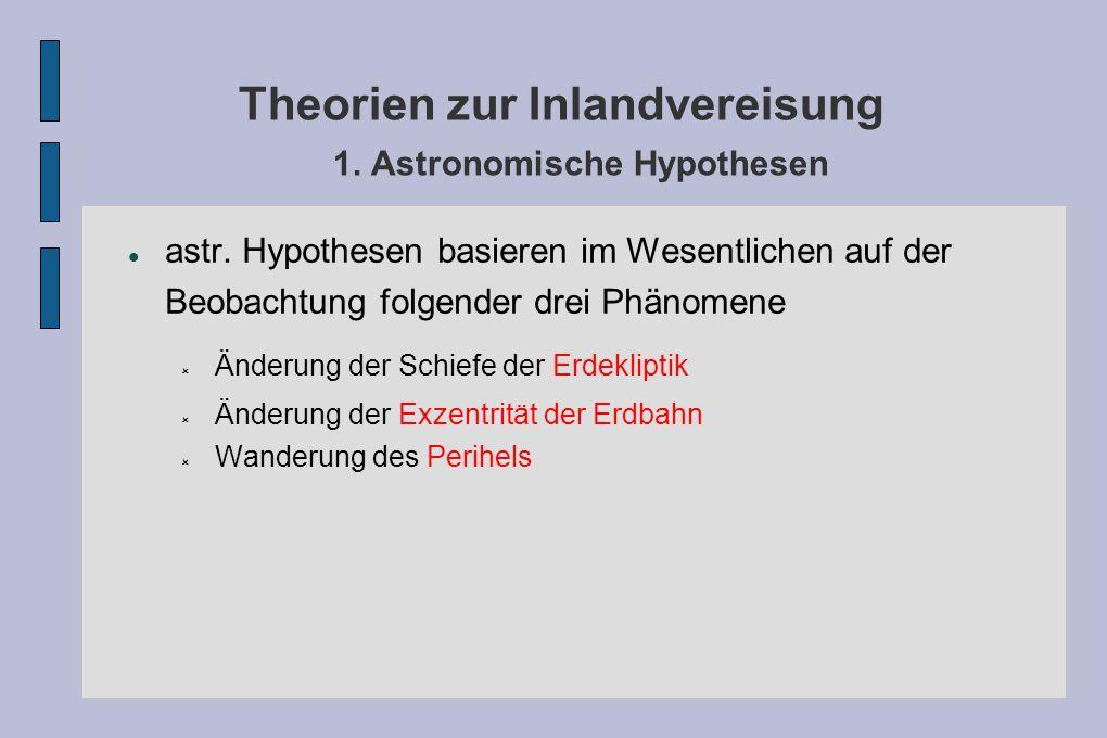 Theorien zur Inlandvereisung 1. Astronomische Hypothesen astr. Hypothesen basieren im Wesentlichen auf der Beobachtung folgender drei Phänomene Änderu