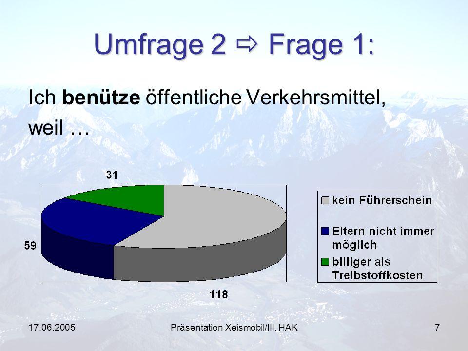 17.06.2005Präsentation Xeismobil/III. HAK7 Umfrage 2 Frage 1: Ich benütze öffentliche Verkehrsmittel, weil …