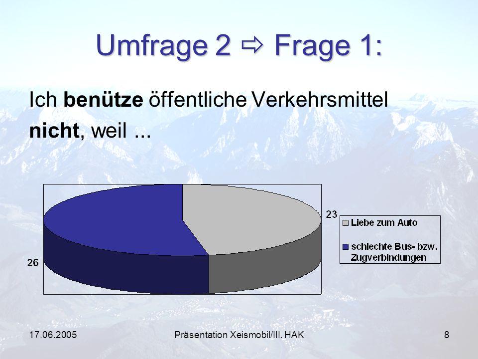17.06.2005Präsentation Xeismobil/III. HAK8 Umfrage 2 Frage 1: Ich benütze öffentliche Verkehrsmittel nicht, weil...