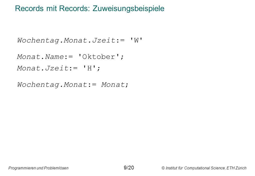 Programmieren und Problemlösen © Institut für Computational Science, ETH Zürich Records mit Records: Zuweisungsbeispiele 9/20 Wochentag.Monat.Jzeit:=
