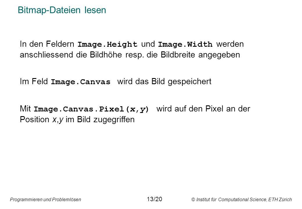 Programmieren und Problemlösen © Institut für Computational Science, ETH Zürich Bitmap-Dateien lesen 13/20 In den Feldern Image.Height und Image.Width werden anschliessend die Bildhöhe resp.