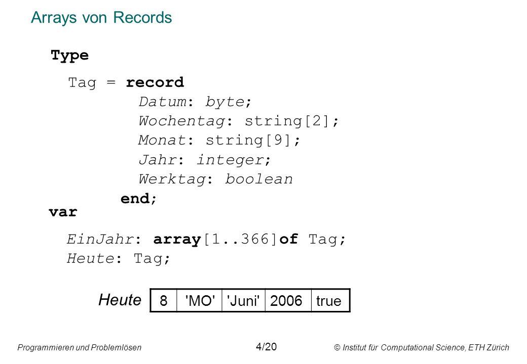 Programmieren und Problemlösen © Institut für Computational Science, ETH Zürich Arrays von Records var EinJahr: array[1..366]of Tag; Heute: Tag; Type