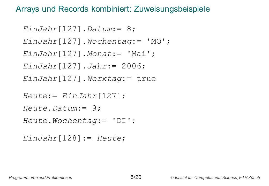 Programmieren und Problemlösen © Institut für Computational Science, ETH Zürich Arrays und Records kombiniert: Zuweisungsbeispiele EinJahr[127].Datum:= 8; EinJahr[127].Wochentag:= MO ; EinJahr[127].Monat:= Mai ; EinJahr[127].Jahr:= 2006; EinJahr[127].Werktag:= true Heute:= EinJahr[127]; Heute.Datum:= 9; Heute.Wochentag:= DI ; EinJahr[128]:= Heute; 5/20