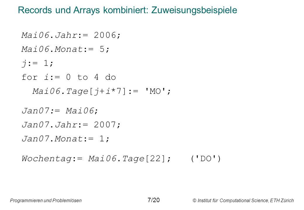 Programmieren und Problemlösen © Institut für Computational Science, ETH Zürich Records und Arrays kombiniert: Zuweisungsbeispiele Mai06.Jahr:= 2006; Mai06.Monat:= 5; j:= 1; for i:= 0 to 4 do Mai06.Tage[j+i*7]:= MO ; Jan07:= Mai06; Jan07.Jahr:= 2007; Jan07.Monat:= 1; Wochentag:= Mai06.Tage[22]; ( DO ) 7/20