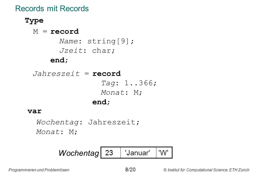 Programmieren und Problemlösen © Institut für Computational Science, ETH Zürich Records mit Records var Wochentag: Jahreszeit; Monat: M; Type M =record Name: string[9]; Jzeit: char; end; 8/20 Wochentag 23 Januar W Jahreszeit =record Tag: 1..366; Monat: M; end;