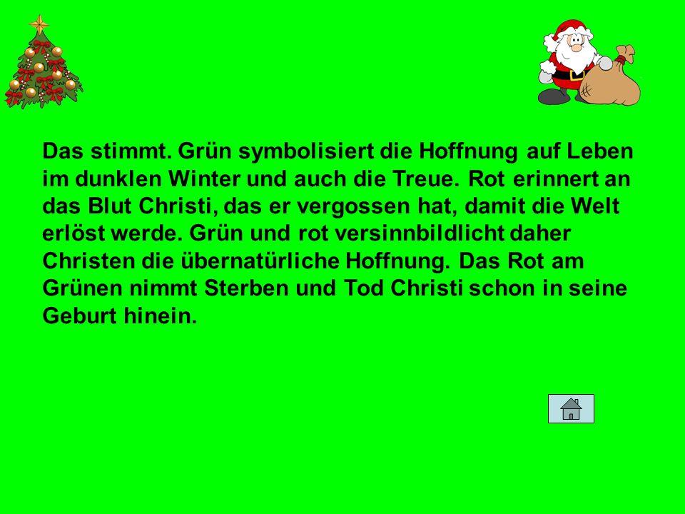 Das stimmt. Grün symbolisiert die Hoffnung auf Leben im dunklen Winter und auch die Treue. Rot erinnert an das Blut Christi, das er vergossen hat, dam
