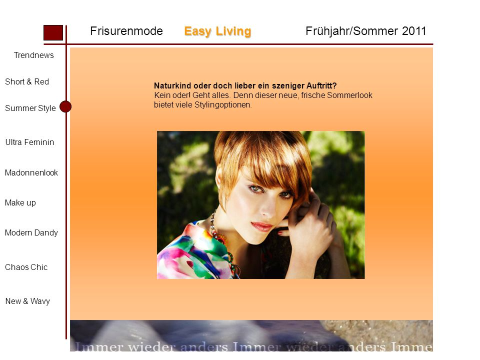 Easy Living Frisurenmode Easy LivingFrühjahr/Sommer 2011 Trendnews Short & Red Summer Style Ultra Feminin Madonnenlook Make up Modern Dandy Chaos Chic New & Wavy Naturkind oder doch lieber ein szeniger Auftritt.