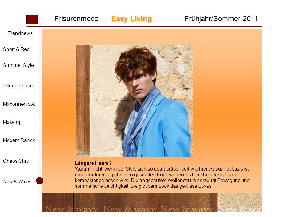 Easy Living Frisurenmode Easy LivingFrühjahr/Sommer 2011 Trendnews Short & Red Summer Style Ultra Feminin Madonnenlook Make up Modern Dandy Chaos Chic New & Wavy Längere Haare.