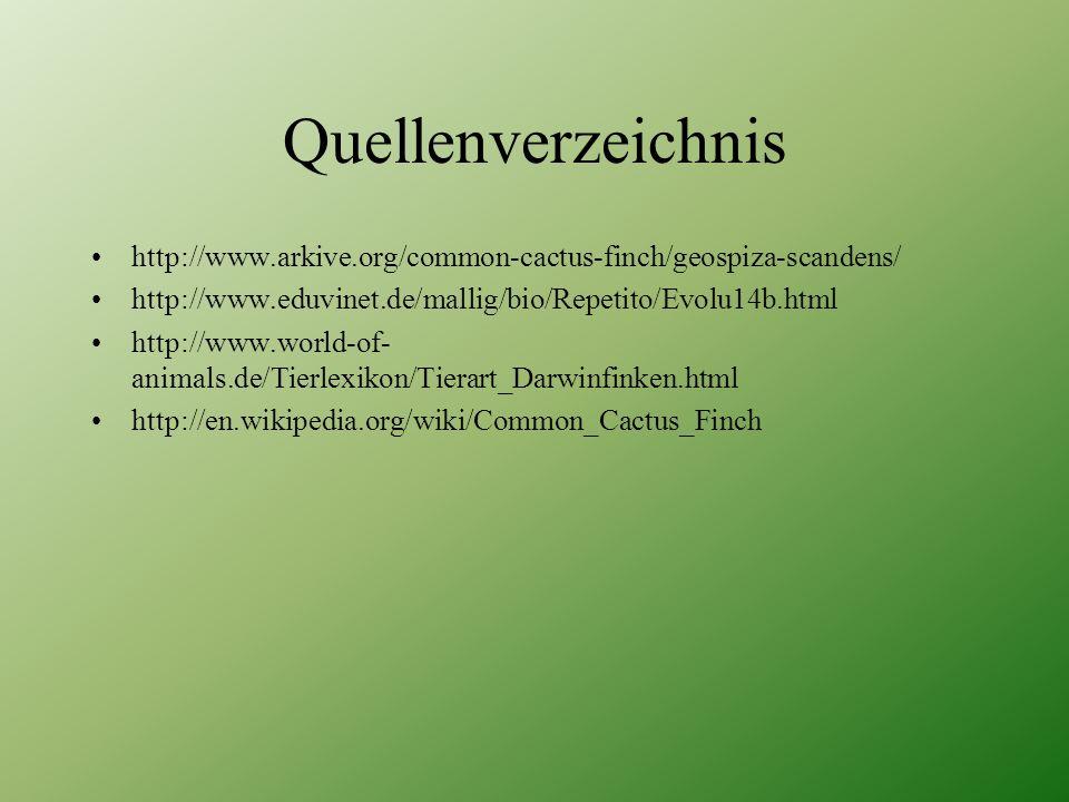 Quellenverzeichnis http://www.arkive.org/common-cactus-finch/geospiza-scandens/ http://www.eduvinet.de/mallig/bio/Repetito/Evolu14b.html http://www.wo