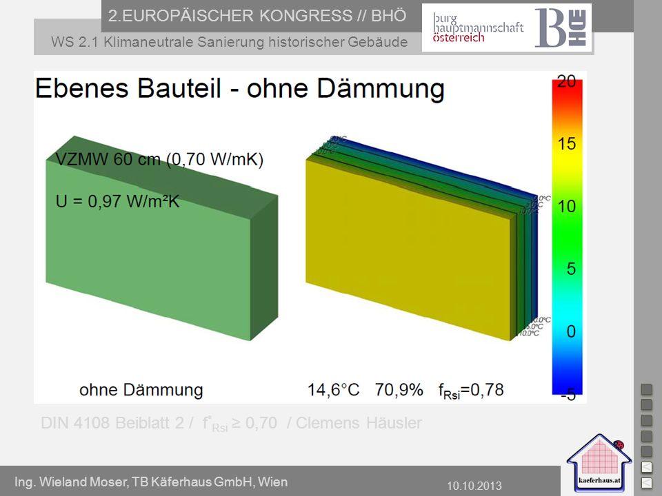 Ing. Wieland Moser, TB Käferhaus GmbH, Wien 10.10.2013 2.EUROPÄISCHER KONGRESS // BHÖ WS 2.1 Klimaneutrale Sanierung historischer Gebäude DIN 4108 Bei