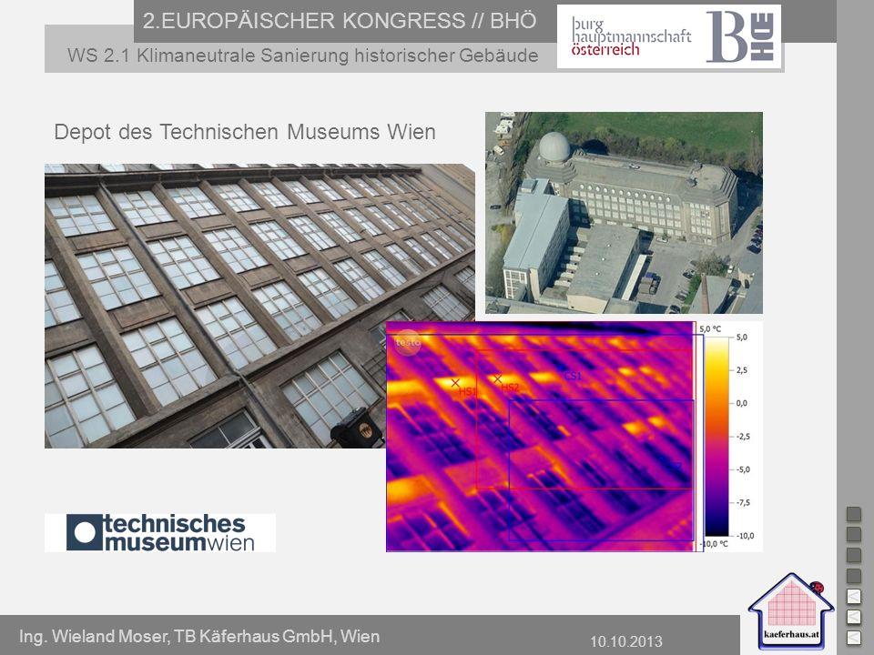 Ing. Wieland Moser, TB Käferhaus GmbH, Wien 10.10.2013 2.EUROPÄISCHER KONGRESS // BHÖ WS 2.1 Klimaneutrale Sanierung historischer Gebäude Depot des Te
