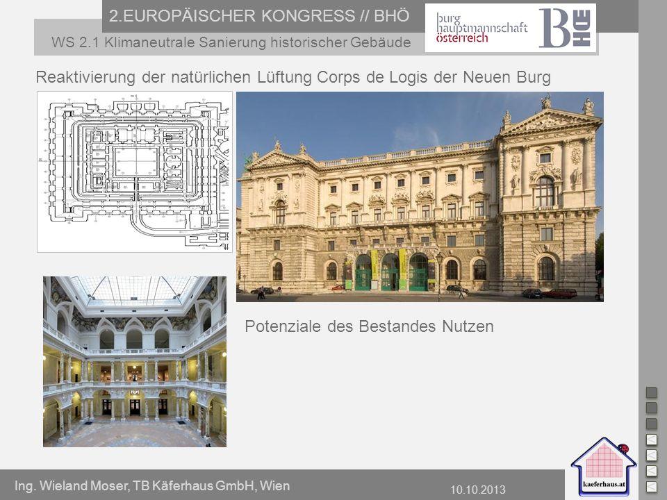 Ing. Wieland Moser, TB Käferhaus GmbH, Wien 10.10.2013 2.EUROPÄISCHER KONGRESS // BHÖ WS 2.1 Klimaneutrale Sanierung historischer Gebäude Reaktivierun