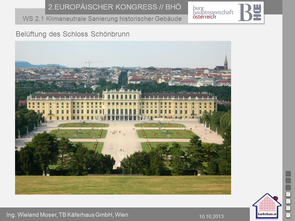 Ing. Wieland Moser, TB Käferhaus GmbH, Wien 10.10.2013 2.EUROPÄISCHER KONGRESS // BHÖ WS 2.1 Klimaneutrale Sanierung historischer Gebäude Belüftung de