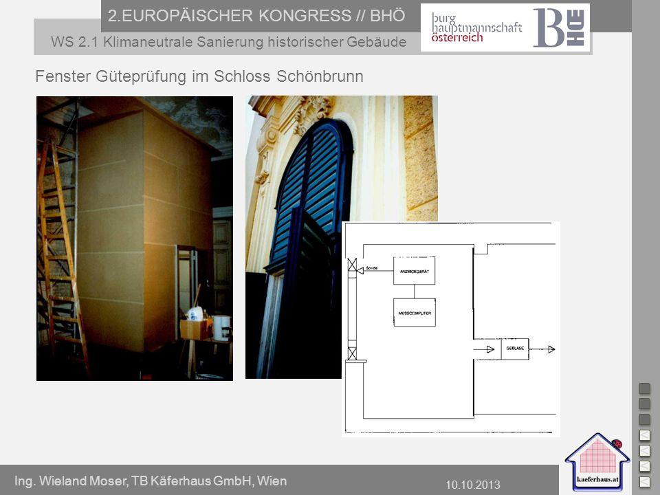 Ing. Wieland Moser, TB Käferhaus GmbH, Wien 10.10.2013 2.EUROPÄISCHER KONGRESS // BHÖ WS 2.1 Klimaneutrale Sanierung historischer Gebäude Fenster Güte