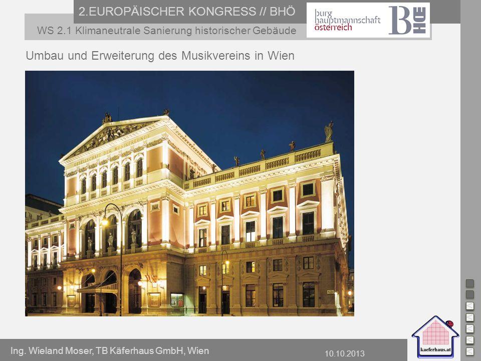 Ing. Wieland Moser, TB Käferhaus GmbH, Wien 10.10.2013 2.EUROPÄISCHER KONGRESS // BHÖ WS 2.1 Klimaneutrale Sanierung historischer Gebäude Umbau und Er