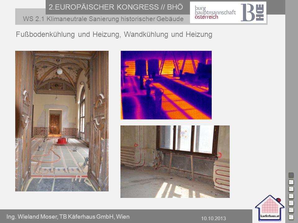 Ing. Wieland Moser, TB Käferhaus GmbH, Wien 10.10.2013 2.EUROPÄISCHER KONGRESS // BHÖ WS 2.1 Klimaneutrale Sanierung historischer Gebäude Fußbodenkühl