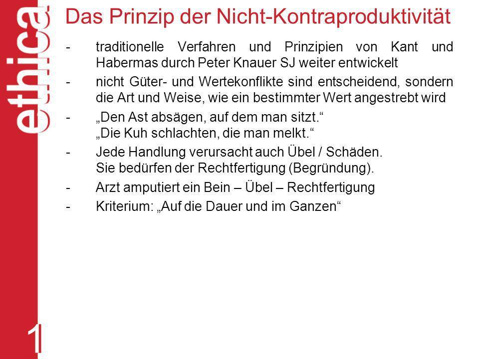 Das Prinzip der Nicht-Kontraproduktivität - traditionelle Verfahren und Prinzipien von Kant und Habermas durch Peter Knauer SJ weiter entwickelt - nic