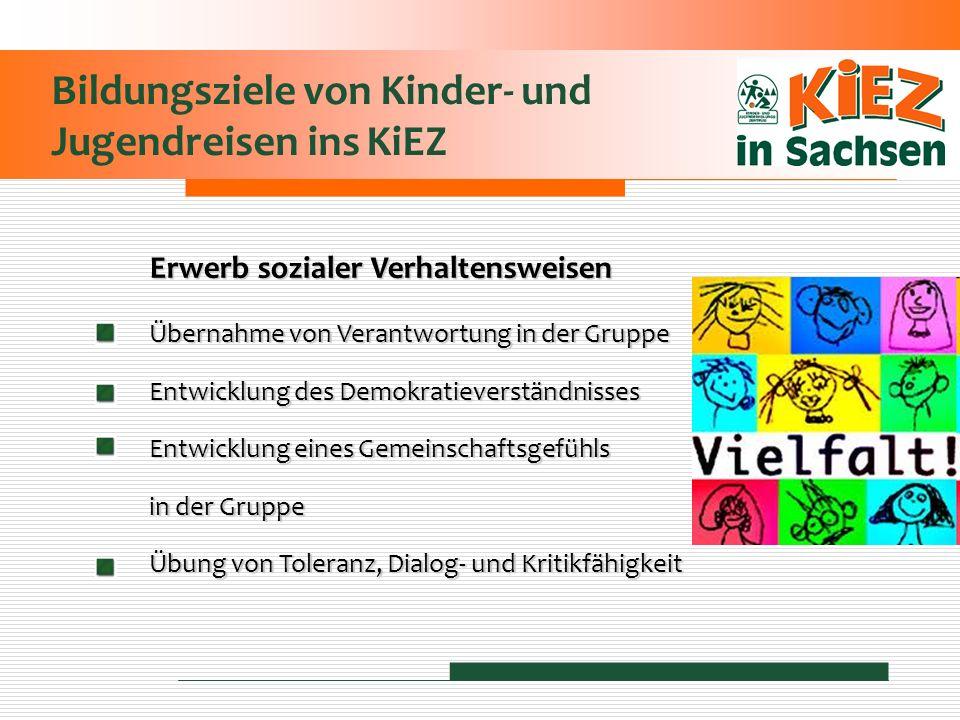 Bildungsziele von Kinder- und Jugendreisen ins KiEZ Erwerb sozialer Verhaltensweisen Übernahme von Verantwortung in der Gruppe Entwicklung des Demokra