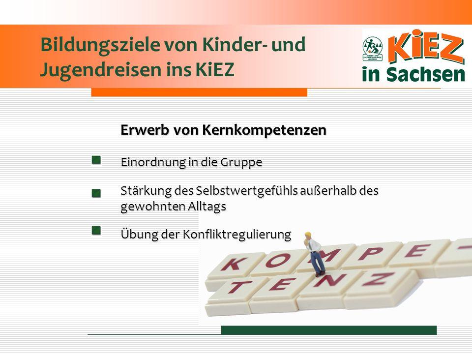 Bildungsziele von Kinder- und Jugendreisen ins KiEZ Erwerb von Kernkompetenzen Einordnung in die Gruppe Stärkung des Selbstwertgefühls außerhalb des g