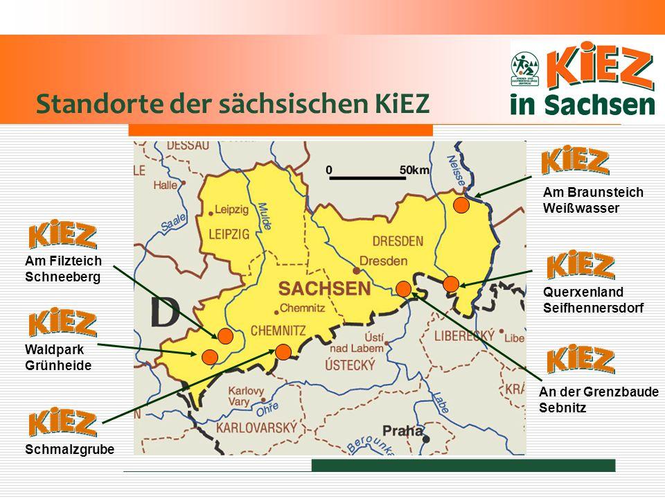Standorte der sächsischen KiEZ Waldpark Grünheide Am Filzteich Schneeberg Schmalzgrube An der Grenzbaude Sebnitz Querxenland Seifhennersdorf Am Brauns