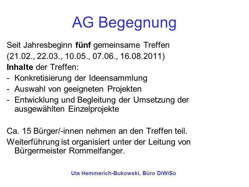 AG Begegnung Seit Jahresbeginn fünf gemeinsame Treffen (21.02., 22.03., 10.05., 07.06., 16.08.2011) Inhalte der Treffen: -Konkretisierung der Ideensam
