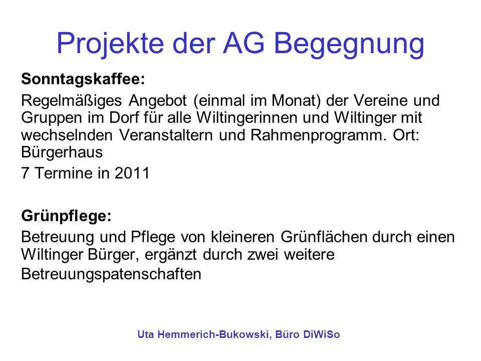 Projekte der AG Begegnung Sonntagskaffee: Regelmäßiges Angebot (einmal im Monat) der Vereine und Gruppen im Dorf für alle Wiltingerinnen und Wiltinger