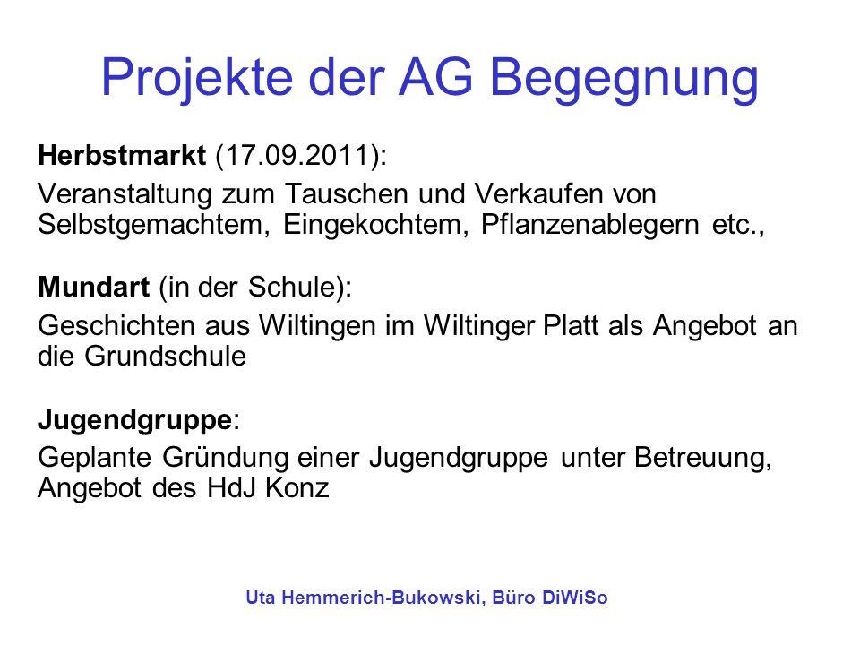 Projekte der AG Begegnung Herbstmarkt (17.09.2011): Veranstaltung zum Tauschen und Verkaufen von Selbstgemachtem, Eingekochtem, Pflanzenablegern etc.,