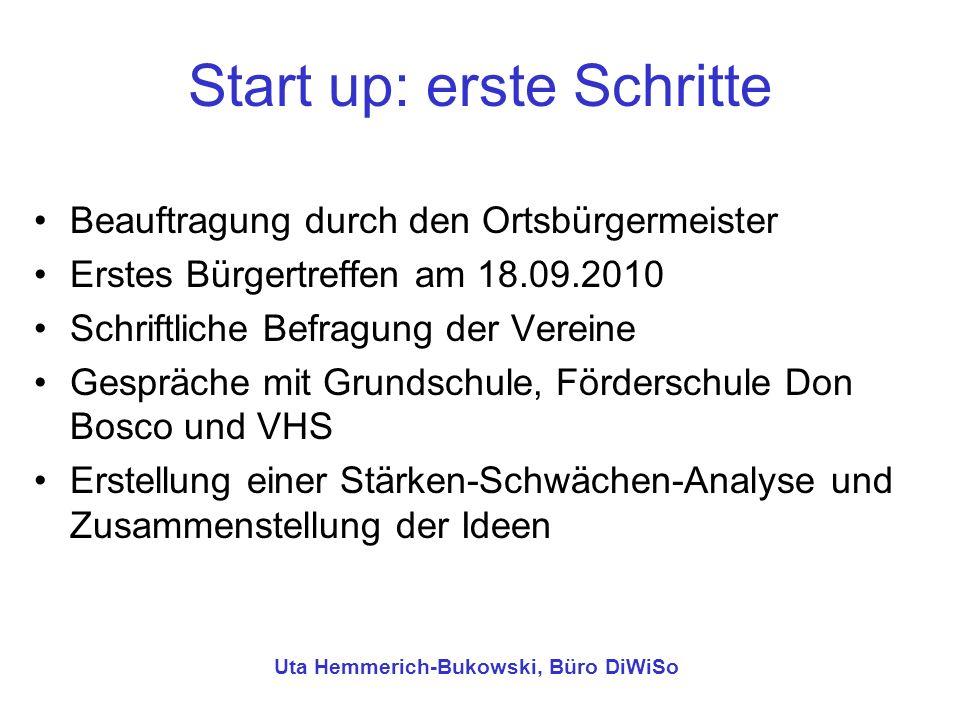 Start up: erste Schritte Beauftragung durch den Ortsbürgermeister Erstes Bürgertreffen am 18.09.2010 Schriftliche Befragung der Vereine Gespräche mit