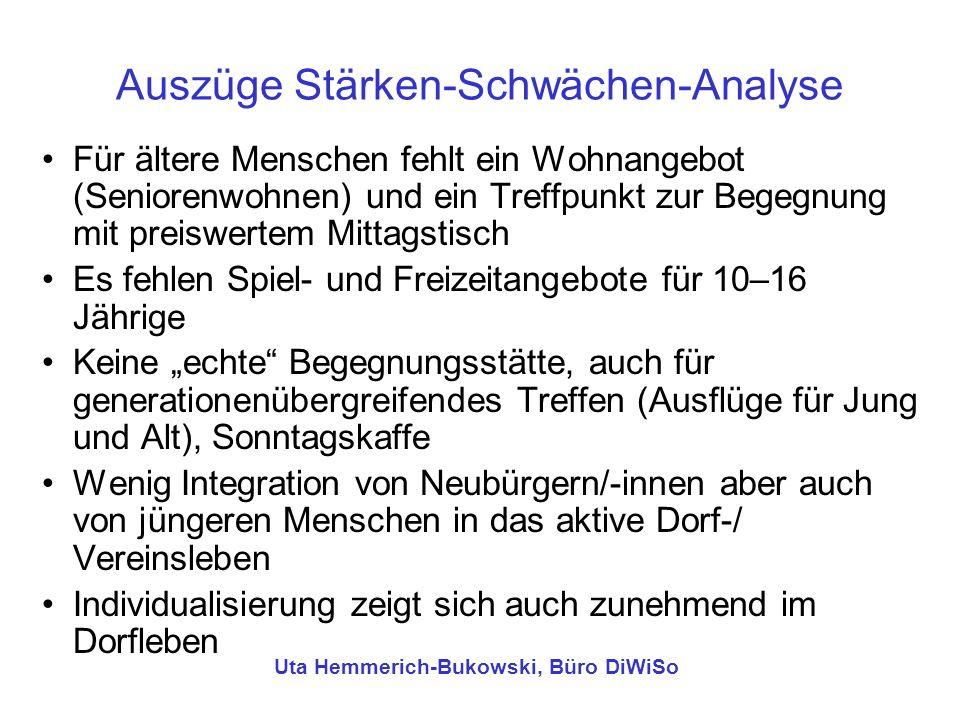Ideensammlung (Auszüge) Attraktive Gestaltung der Begegnungsorte (Dorfplatz, Bürgerhaus, Spielplatz, Sportplatz) Transparenz der konkreten Angebote z.B.