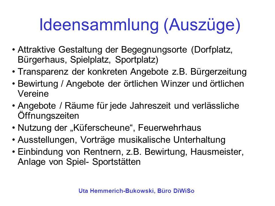 Ideensammlung (Auszüge) Attraktive Gestaltung der Begegnungsorte (Dorfplatz, Bürgerhaus, Spielplatz, Sportplatz) Transparenz der konkreten Angebote z.
